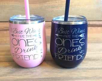 Stemless Wine Glass Tumblers With Lid And Straw Acrylic Wine