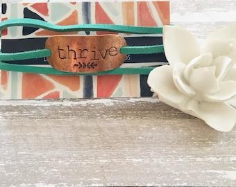 Thrive Inspirational Leather Wrap Bracelet
