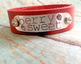 Berry Sweet red leather bling cuff bracelet, strawberry