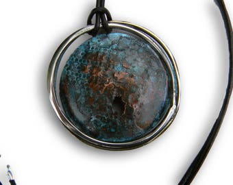 contemporary alpaca silver copper pendant