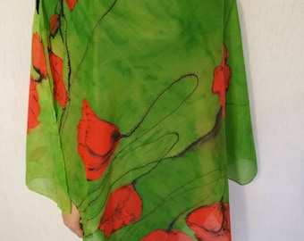 Silk scarf shawl with painted poppy flowers