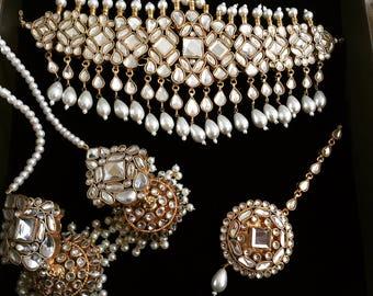 Mirror Kundan & Pearl Bridal Jewellery Set