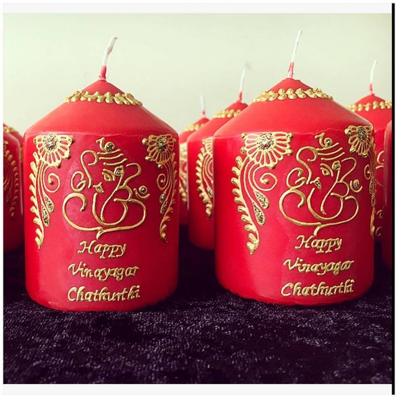 Small Ganesh Henna Candles Etsy