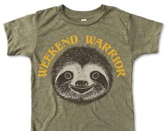ec1330005310 Weekend Warrior / Kids Clothes / Boys Shirts / Girls Shirt / Toddler Clothes  / Children's Clothes / Kids Shirt / Sloth T-shirt
