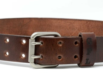 Mens Full Grain Leather Belt. Custom personalized hand dyed leather belt with secret message with double tongue buckle