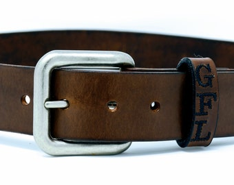 Brown Leather Belt for Men Full Grain - Mens leather belt with name on it - Engraved Belt for men