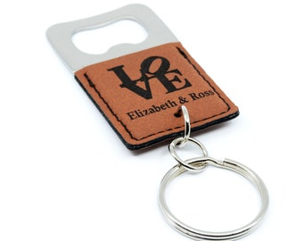 Personalized Bottle Opener Keychain Wedding Favor, Low Cost Wedding Favors Bottle Opener Bulk, Leatherette Keychain with Bottle Opener Favor