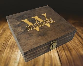 Personalized wood cigar box, wooden box, keepsake box, best man gift box, groomsmen gift box, groomsman gift box