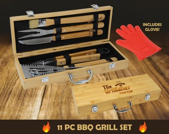 Personalized BBQ Grill Set, Groomsmen Gift, Personalized 11 Piece Barbecue Set, Grill Master Gift, BBQ Gift for Men
