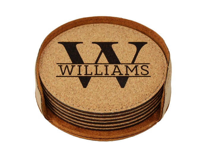 Personalized Coasters Set of 6, Personalized Coasters for Couple, Laser Engraved Coasters with Personalization, Personalized Gift for Couple