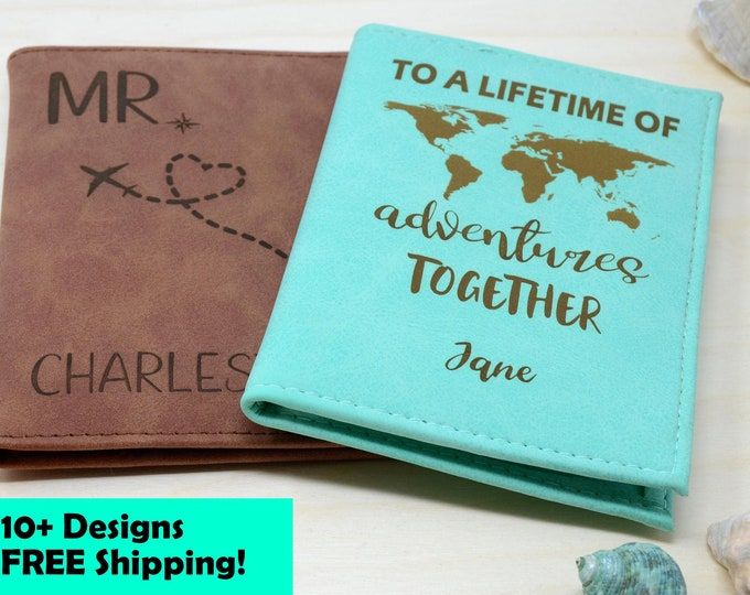 Passport Holder, Passport Cover, Passport Wallet, Passport Case personalized with RFID. Travel Wallet Gifts. Couples gift