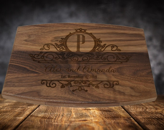 Laser Engraved Cutting Board Wedding Gift, Engraved Cutting Board Personalized, Custom Cutting Board with Juice Groove Wedding Cutting Board