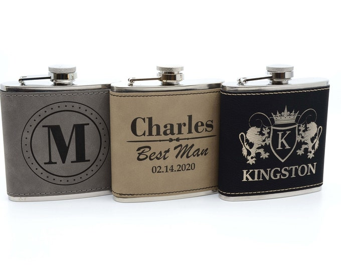 Personalized Flask for Men, Custom Engraved Flask, Flask for Groomsmen Gifts, Groomsmen Groomsman Gift