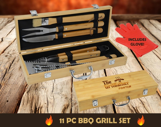 Personalized BBQ Grill Tool Set, Personalized BBQ Gift Set, BBQ Grilling Set, Engraved Gift for Grilling Dad, Engraved Bbq Set Tool Gift Set