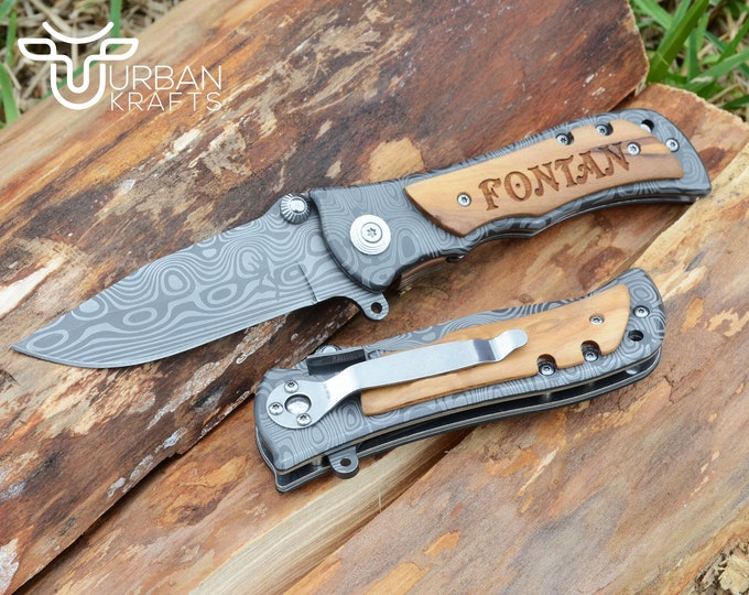 Engraved Knife, Damascus Knife, Pocket Knife, Folding Knife, Groomsmen Gift, Fathers Day Gift