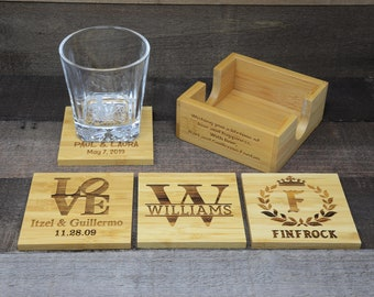 Personalized Bamboo Coasters Set of 4, Personalized Coasters for Couple, Gift for Couple, Laser Engraved Coasters with Personalization