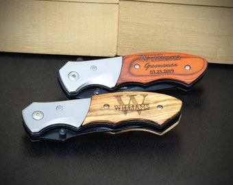 Personalized Pocket Knife, Groomsmen Gift, Groomsman Gift, Custom Hunting Wood Handle Knife