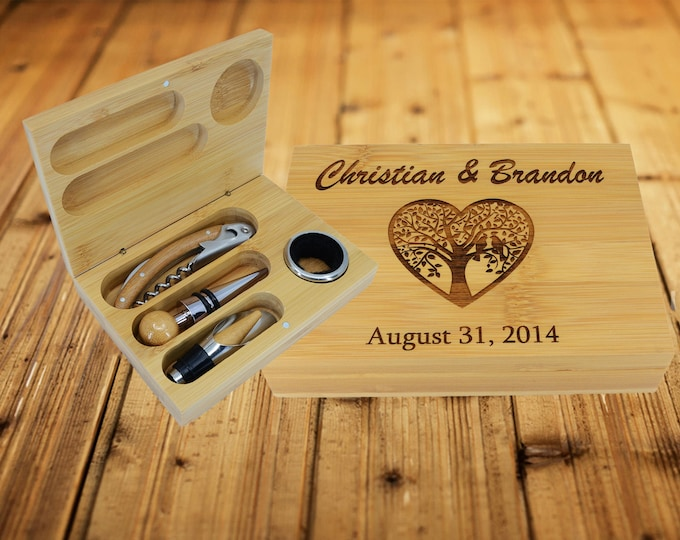 Personalized Wine Tool Set, Wine Gifts For Couple, 4 Pc Wine Opener Gift Set, Wine Accessories, Wine Gifts for Women, Custom Wine Gifts