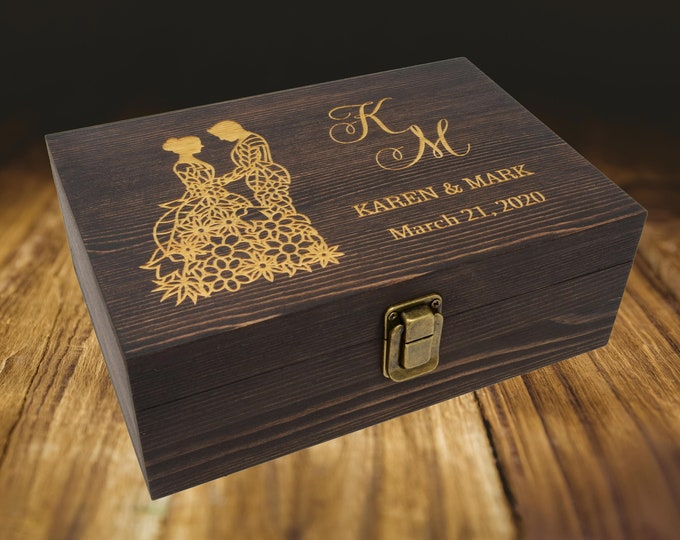 Laser Engraved Wooden Box, Personalized 5th Anniversary Gift for Her, 5th Anniversary Gift Wood, Personalized Wooden Box with Hinged Lid