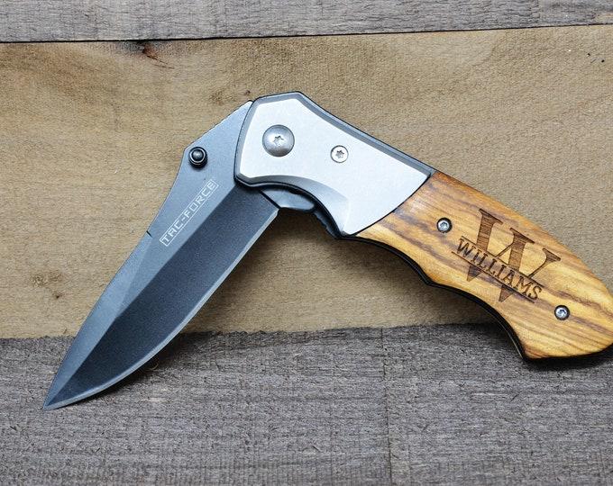 Personalized Pocket Knife, Groomsmen Gift, Groomsman Gift, Custom Hunting Wood Handle Knife