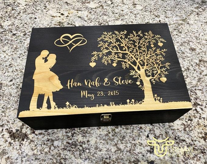 Anniversary Wooden Gift Box, 5 year wood anniversary gifts, wedding gift, jewelry wood box, housewarming gift, couples gift, memory box