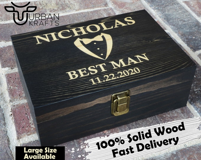 Large Wooden Box Engraved, Custom Wood Box with Hinged Lid, Personalized Wooden Keepsake Box for Men, Best Gift for Husband