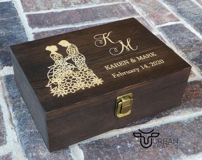 5 Year Wood Anniversary wooden gift box, wedding gift, jewelry memory keepsake wood box, couples housewarming gift, anniversary gifts