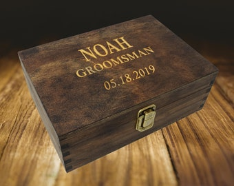 Groomsmen Gift Box Wood, Groomsmen Gift Personalized Keepsake Box, Small Wooden Box with Hinged Lid, Engraved Wooden Box for Groomsmen