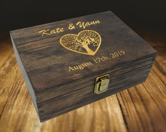 Personalized Wooden Box for Cards, Wooden Wedding Card Box, Rustic Wooden Box for Wedding Cards, Wooden Keepsake Box Wedding