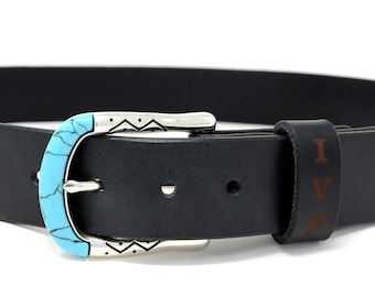Black leather belt, Turquoise belts buckle, Personalized Women's leather belt, Belts for women leather,
