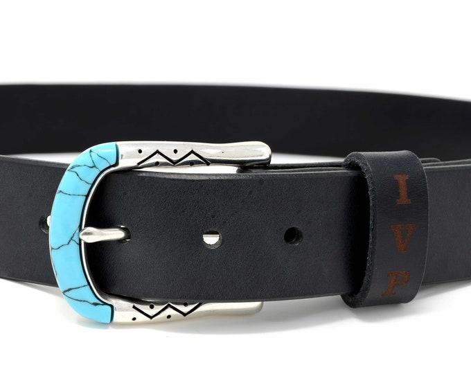 Black leather belt, Turquoise belts buckle, Personalized Women's leather belt, Belts for women leather,