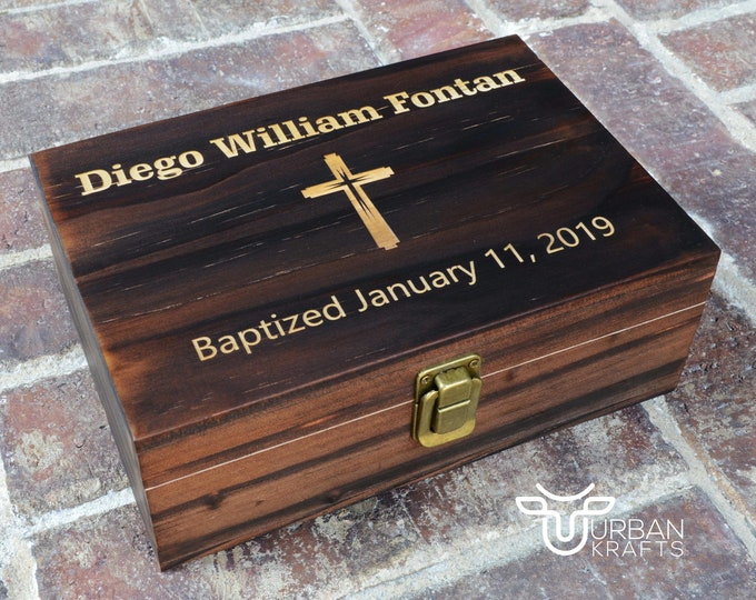 Baptism Wood Gift Box from Godparents, Baby Baptism Wooden Gift Boy Girl Box, Religious Blessing Christening Gifts Box