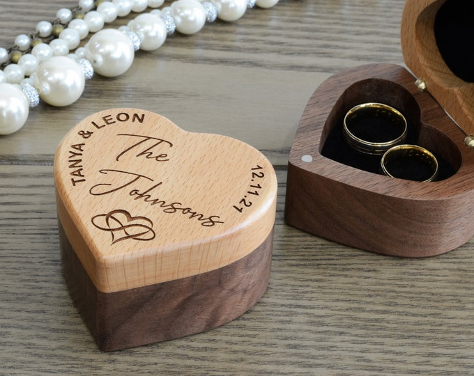 Wedding Ring Box, Wedding Ring Holder, Wooden Ring Box Wedding, Double Dual Ring Box, Wedding Band Box, Wood Ring Box
