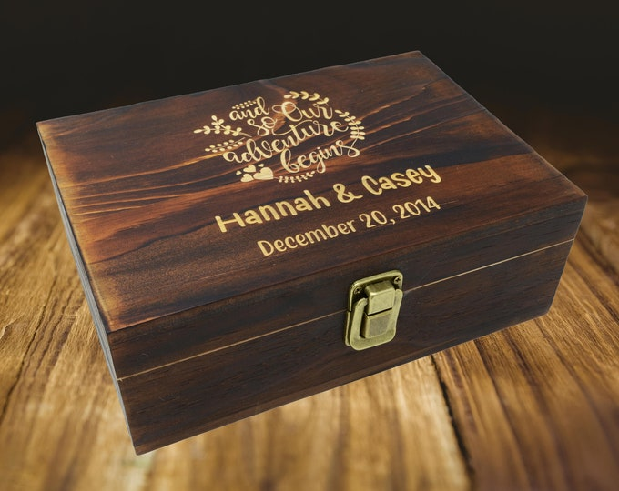 Engraved Wooden Gift Box, Personalized 5th Anniversary Gift for Her, 5th Anniversary Gift Wood, Personalized Wooden Box with Hinged Lid