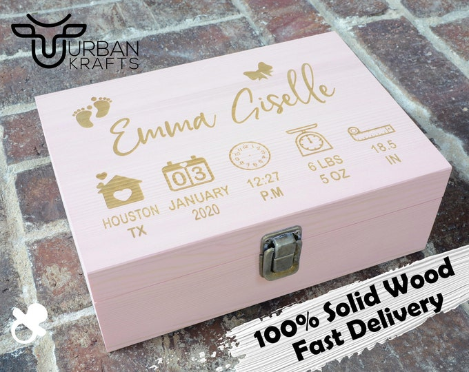 New baby keepsake wood box, birth stats announcement, baby gifts personalized, baby girl boy nursery, newborn gift for baby girl boy