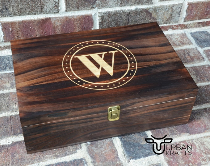 Wooden Box Engraved, Custom Wood Box with Hinged Lid, Personalized Wooden Keepsake Box for Men, Best Gift for Husband