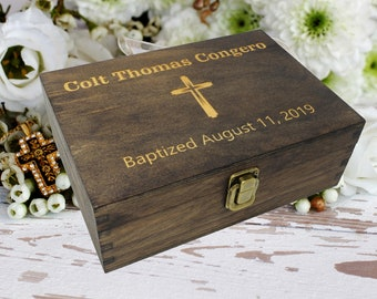 Wooden Baptism Keepsake Box Boy or Girl, Personalized Baptism Gift from Godparent, Personalized Baptism Box Engraved, Baptism Gift Box