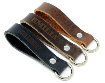 Custom Personalized Leather Keychain for Boyfriend. Keychains for men women.