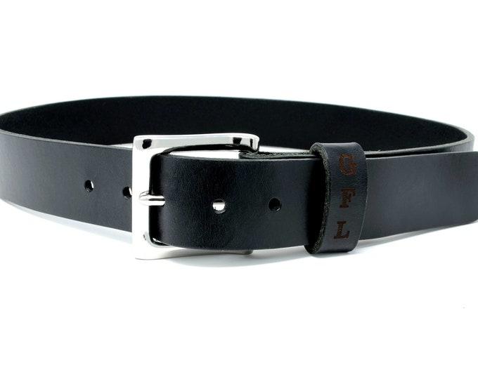 Mens Full Grain Leather Belt. Custom personalized leather belt with secret message