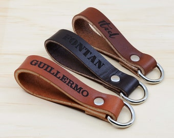 Personalized Leather Lanyard for Keys. Keychain for Boyfriend. Keychains for men women.