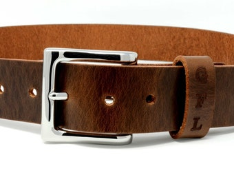Mens Full Grain Leather Belt. Custom personalized leather belt with secret message