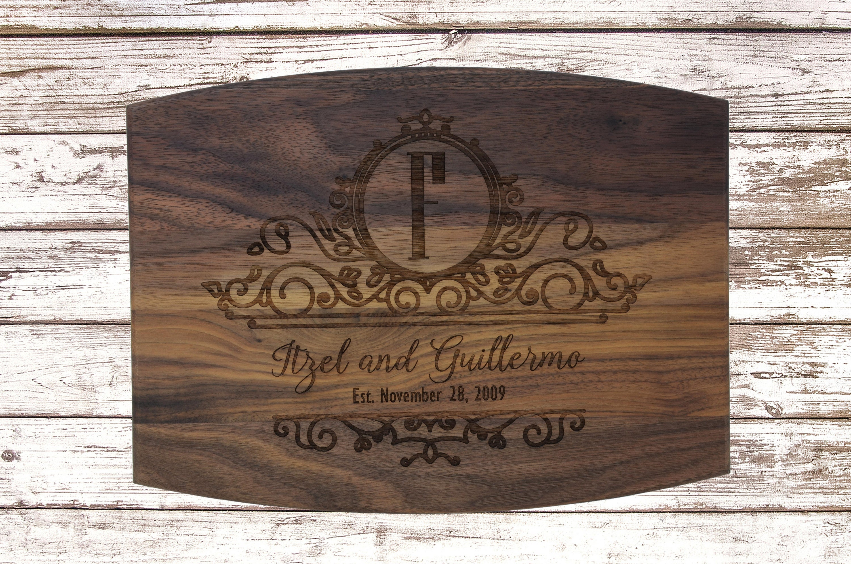 Laser Engraved Cutting Board Wedding Gift Engraved Cutting Board Personalized Custom Cutting Board With Juice Groove Wedding Cutting Board