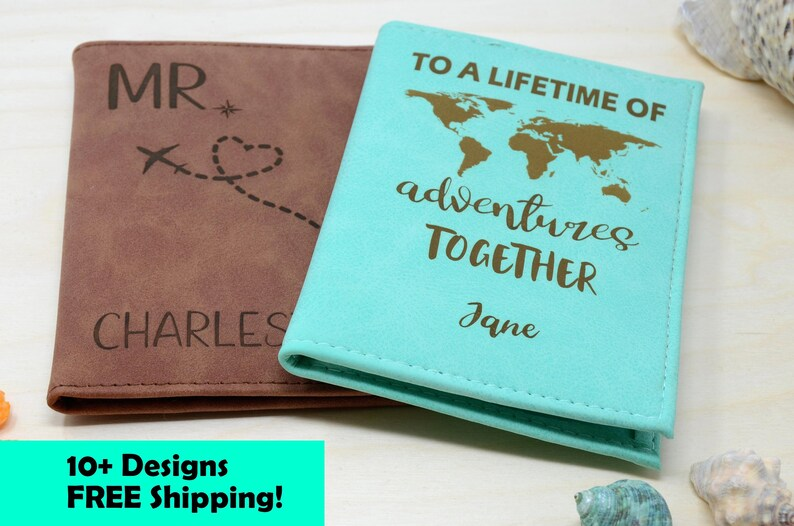 f3bcc5cb9b93 Passport Holder, Passport Cover, Passport Wallet, Passport Case  personalized with RFID. Travel Wallet Gifts. Couples gift