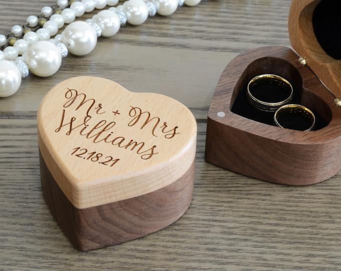 Wedding Ring Box, Ring Bearer Ring Box, Wodden Ring Box, Personalized Ring Box Wedding, Wedding Ring Holder, Double Ring Box
