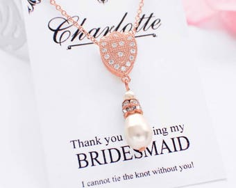 Rose gold pearl necklace, bridesmaid jewelry, pearl bridesmaid necklace, single pearl bridal necklace, wedding jewelry for brides, pearl