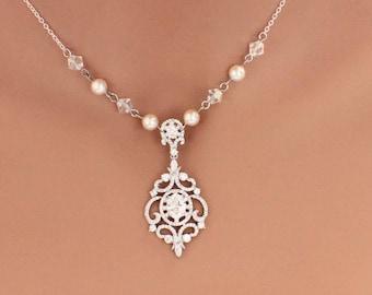 Pearl wedding necklace set, pearl necklace bracelet set, vintage style jewelry set, bridal jewelry set, wedding jewelry, pearl bracelet set