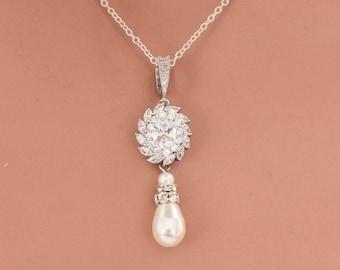 Dainty necklace, bridesmaid gift, bridesmaid necklace, pearl drop, bridal necklace, crystal wedding necklace, pearl CZ wedding jewelry