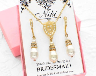 Gold pearl jewelry set, pearl bridal set, bridesmaid necklace set, wedding necklace set, personalized necklace gift, bridal party gift