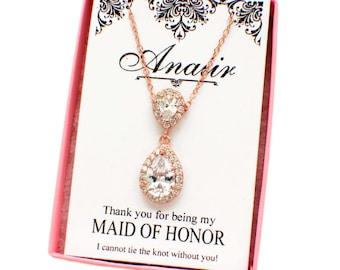 Rose gold bridesmaid necklace, wedding accessories, teardrop wedding necklace, CZ necklace, personalized bridesmaid gift, wedding jewelry