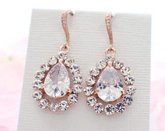 Wedding earrings rose gold, cubic zirconia, bridal earrings, crystal drop errings, wedding jewelry, bridal jewelry, vintage style earrings